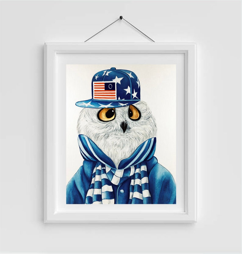 Owl print Owls Owl animal print Animals in clothes Modern image 0