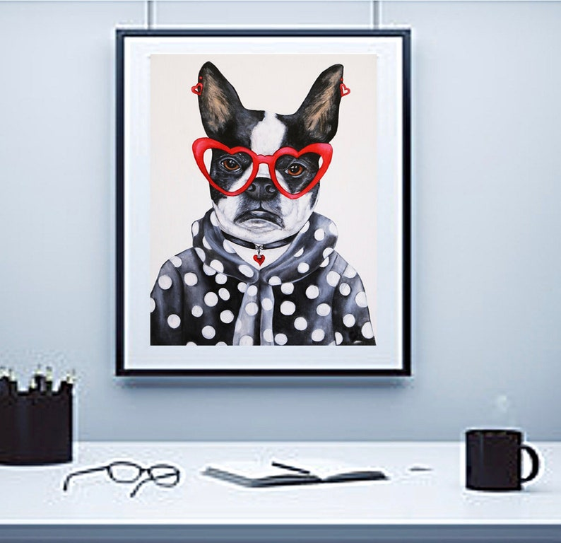 Dog art print Dogs wall art print Boston Terrier dog art image 0