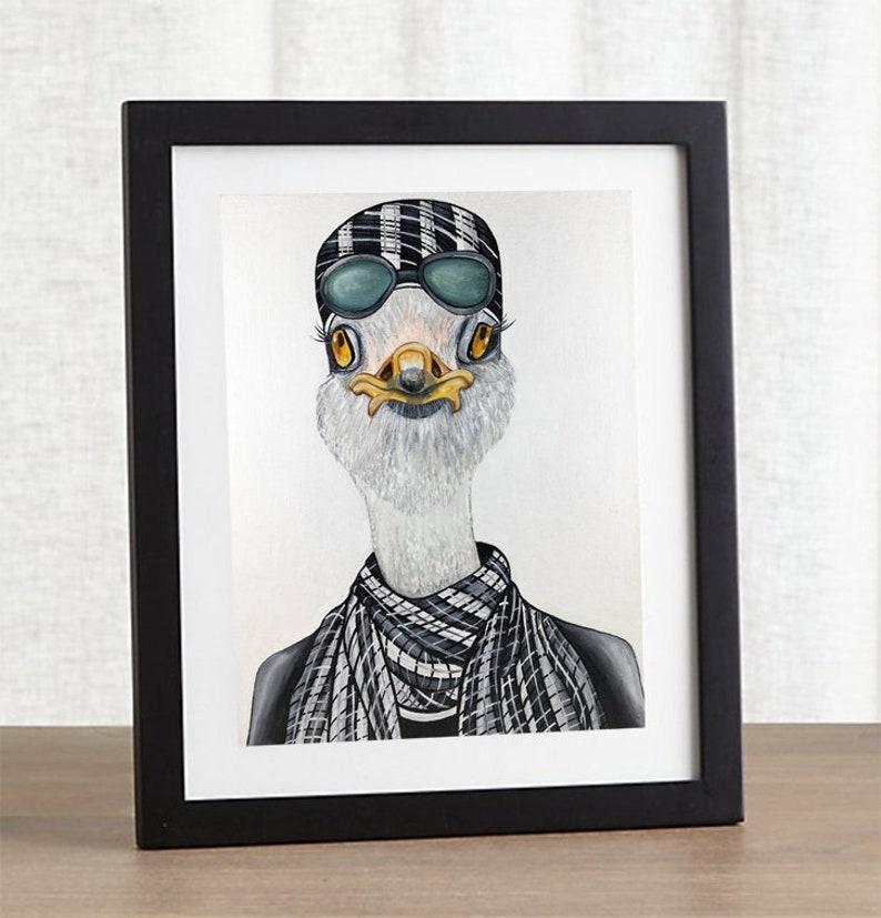 Ostrich print Bird print Bird Illustration Ostrich art image 0