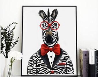 Animal print, Zebra print, Horse print, Safari animals. Animal portrait, Children's room art, Hipster animals