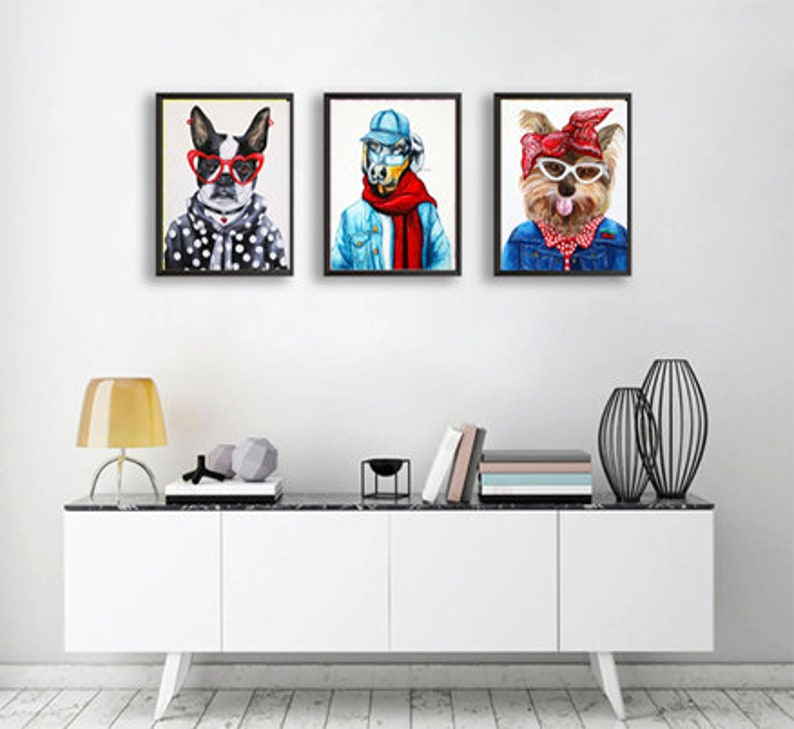Dog art prints sale Animals in clothes Hipster animals image 0