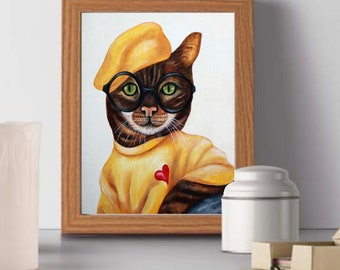 Cats, Cat art print, Cat art work, Hipster Cat, Cats in Clothes, Animal portraits, Animal art