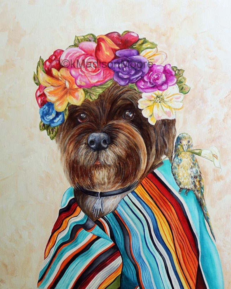 Frida Kahlo dog art Frida Dog art print Dog portrait Dog image 0