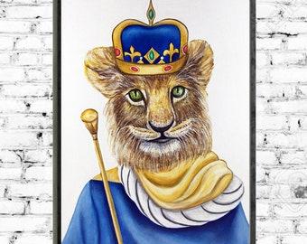 Lion art print, animal portraits, animal wall art, animals in clothes