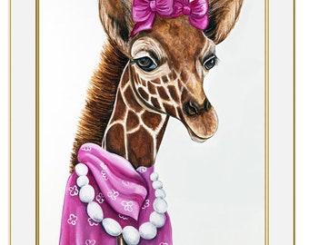 Giraffe art print, Animals in clothes, Hipster animals, Children's art, Modern nursery art, Zoo animal