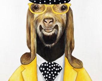 Goat print, Goat  Art print, Animal wall art print, Farm animal, Kids room, Hipster animals