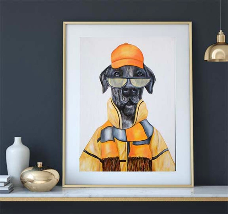 Great Dane dog print Dapper Dog art Dogs in clothes image 0
