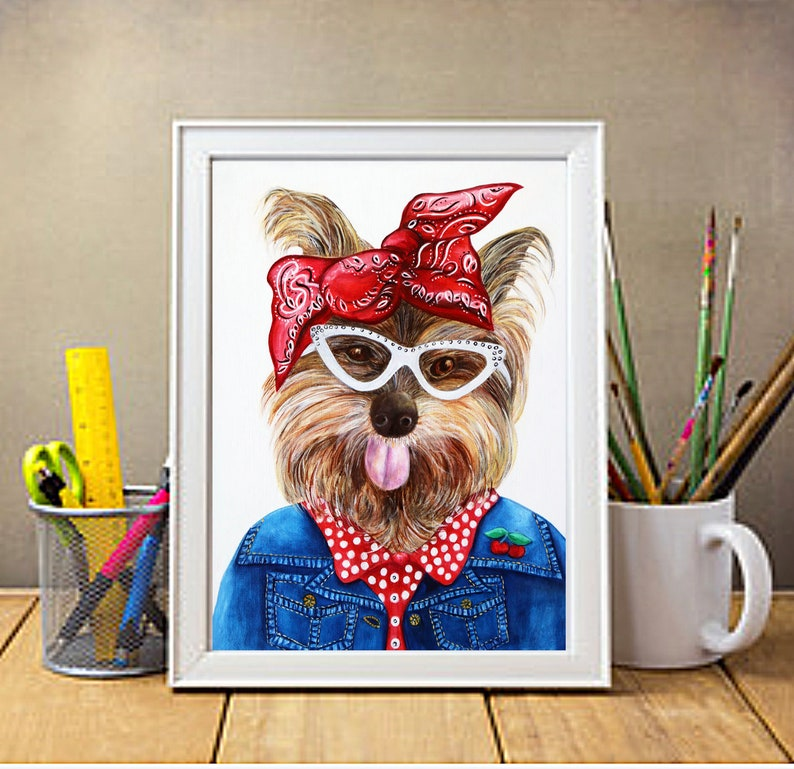 Yorkie Dog art print Dog art Yorkies Dogs in clothes image 0