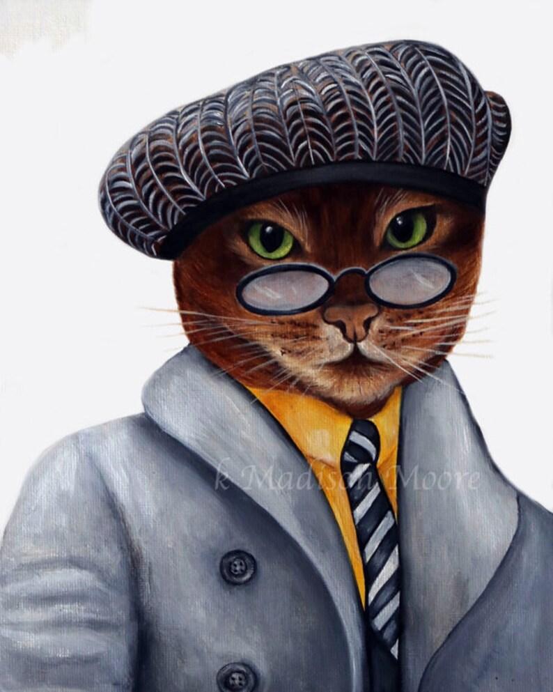 Cat art Cat portrait Pet portrait Cats in clothes Cats image 0
