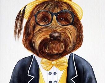 Dog art print, Dog in clothes print, Hipster animal gang print, Dog portrait, Dapper dog