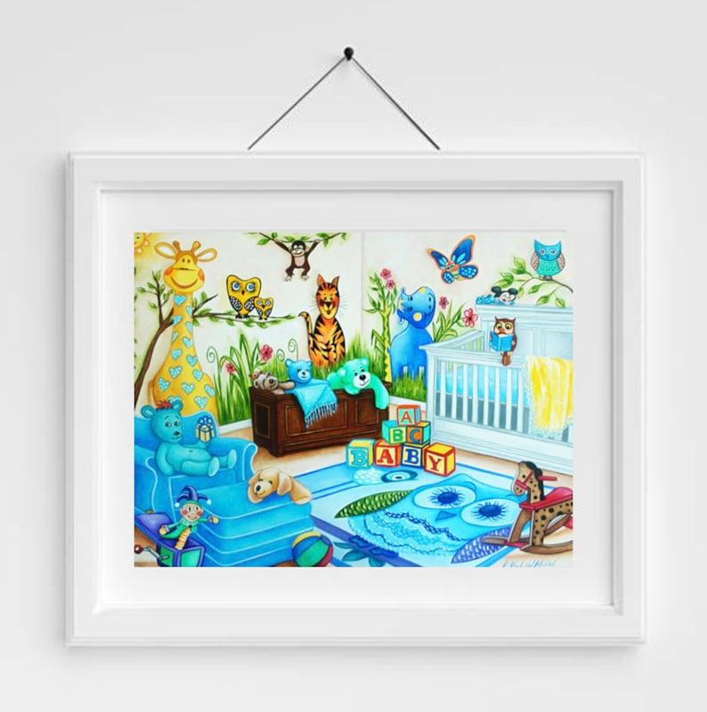 Nursery art Nursery art print Animal art Baby's room image 0