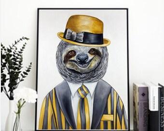 Sloth art print, animal print, hipster animal gang  prints, nursery print