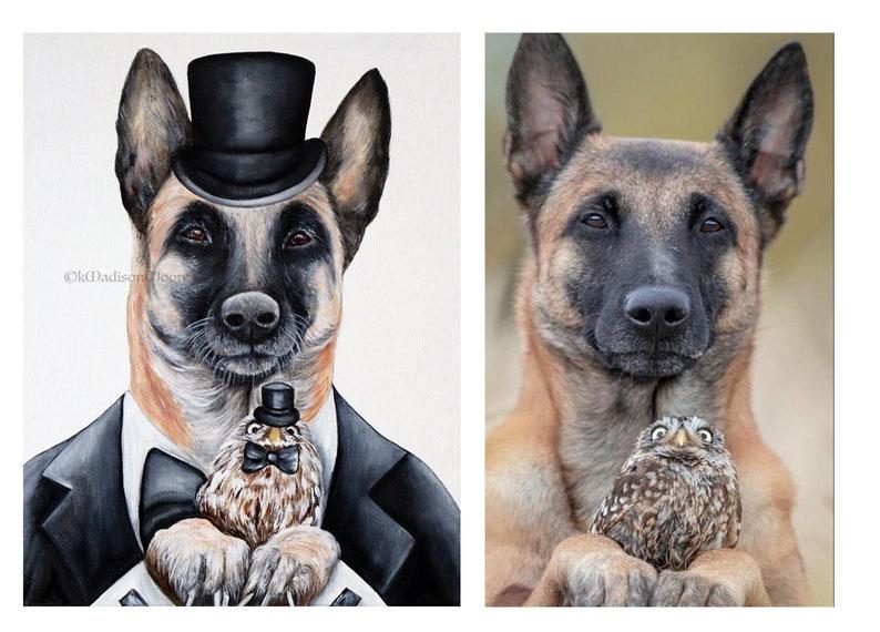 Dog art print Owl art print Animal art print Hipster image 0