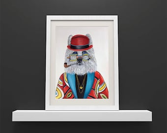 Wolf art print, animal portraits, animals in clothes, hipster animal prints