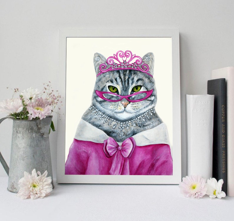 Cat portrait Cat art Cats Cat art print Hipster animals image 0