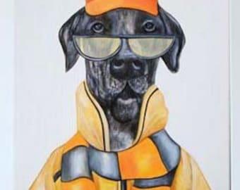 Great Dane dog print, Dapper Dog art, Dogs in clothes