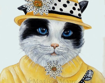 Cats, Cat art print, Cats in clothes. Dapper animal, Hipster animals