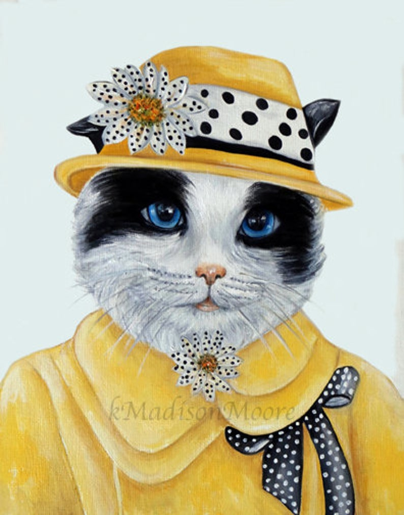 Cats Cat art print Cats in clothes. Dapper animal Hipster image 0