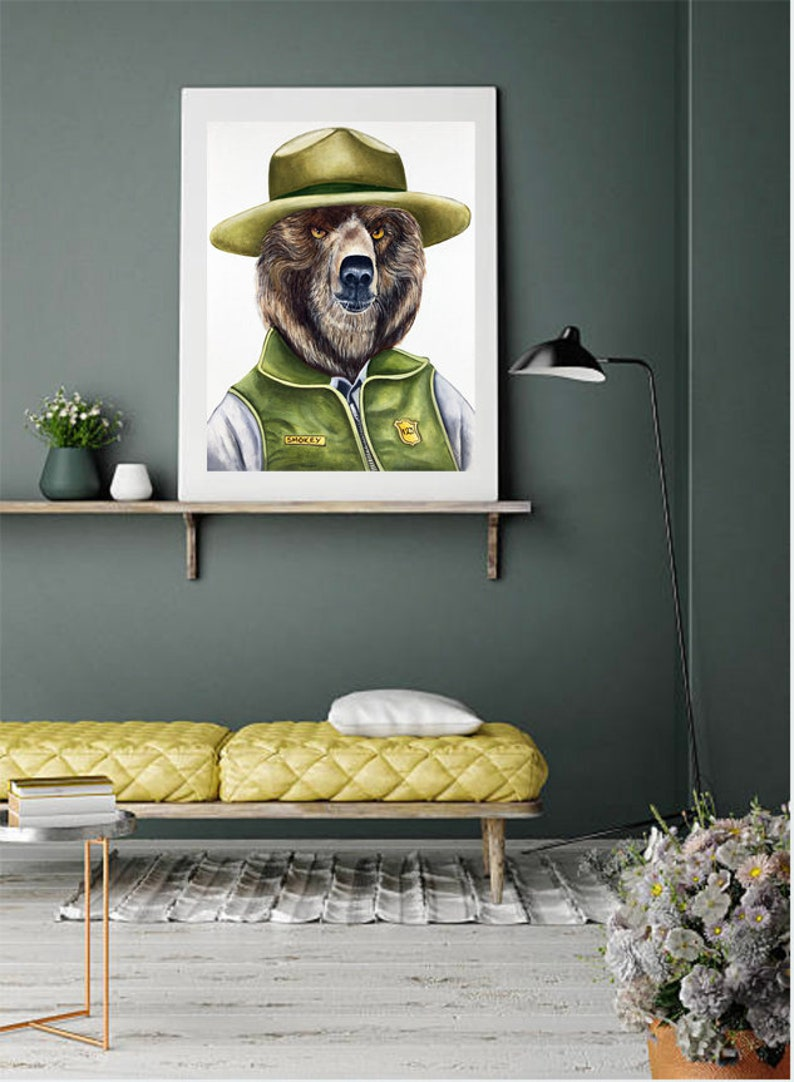 Grizzly Bear Bear art print Bear portrait Animals in image 0