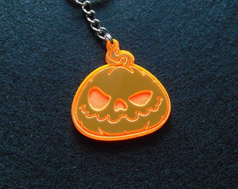 Scary Pumpkin Keychain, Necklace, Charm - Halloween keychain - Halloween accessory - Fluorescent glowing acrylic - laser cut