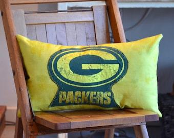 "Upcycled T-Shirt Pillow - Gold Metallic Green Bay Packer's ""G"" - 293"