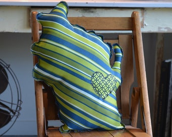 Wisconsin Shaped Pillow - Greens, Blues, White Diagonal Stripes - 107