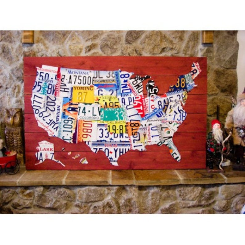 United States License Plate Map on map wall decor metal art, map made of books, map white on white art, map made of tools, map of united states license, map made of paper, map made of flowers, map made of buttons,