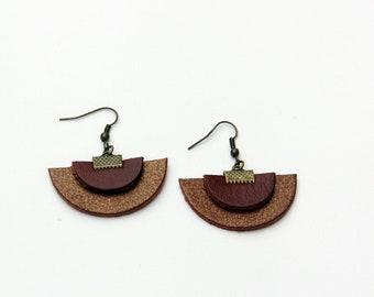 Designer leather earrings