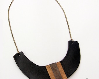 Designer leather necklace