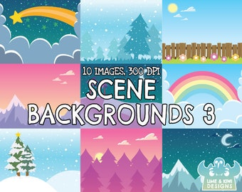 Mixed Scenes Backgrounds 3 Clipart, Mountain, Desert, Space, Shooting star, Garden, Fence, Flower, Rainbow, Christmas Tree, Snowing