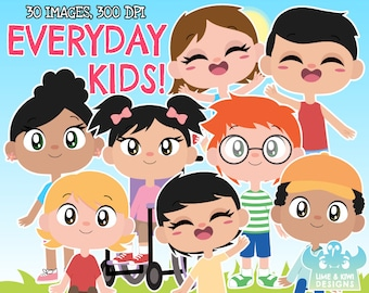 Everyday Kids Clipart, Instant Download Vector Art, Commercial Use Clip Art, Boy, Girl, Child, Children, Wheelchair, Disabled, Youth, School