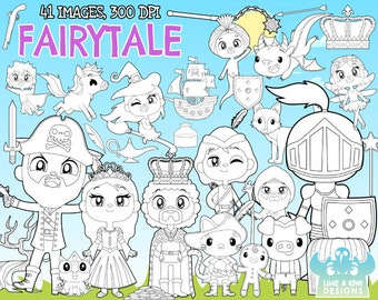Fairytale Digital Clipart, Instant Download Vector Art, Fantasy, Tree, Pig, Cat, Witch, Horse, Unicorn, Pirate, Superhero, Castle, King