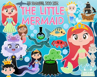 The Little Mermaid, Instant Download Vector Art, Commercial Use, Ariel, Triton, Sea witch, Sunken Ship, Fish, Crab, Prince, Statue, Fantasy