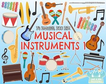 Musical Instruments 1 clipart, Instant Download, Piano, Keyboard, Trumpet, Saxophone, Trombone, Guitar, Ukulele, Drums, Flute, Violin, Banjo