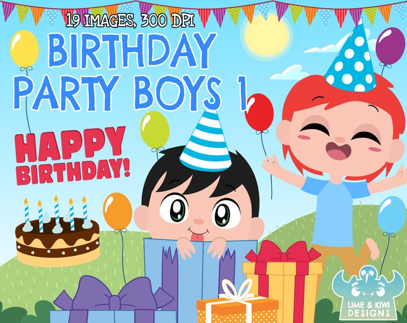Birthday Party Boys 1 Clipart Instant Download Vector Art