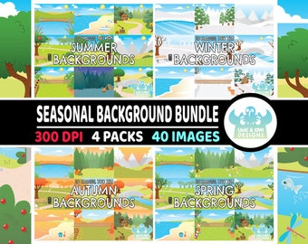 Seasonal Backgrounds Clipart Bundle 1, Spring Backgrounds, Summer Backgrounds, Autumn Backgrounds, Winter Backgrounds, Countryside, Stream