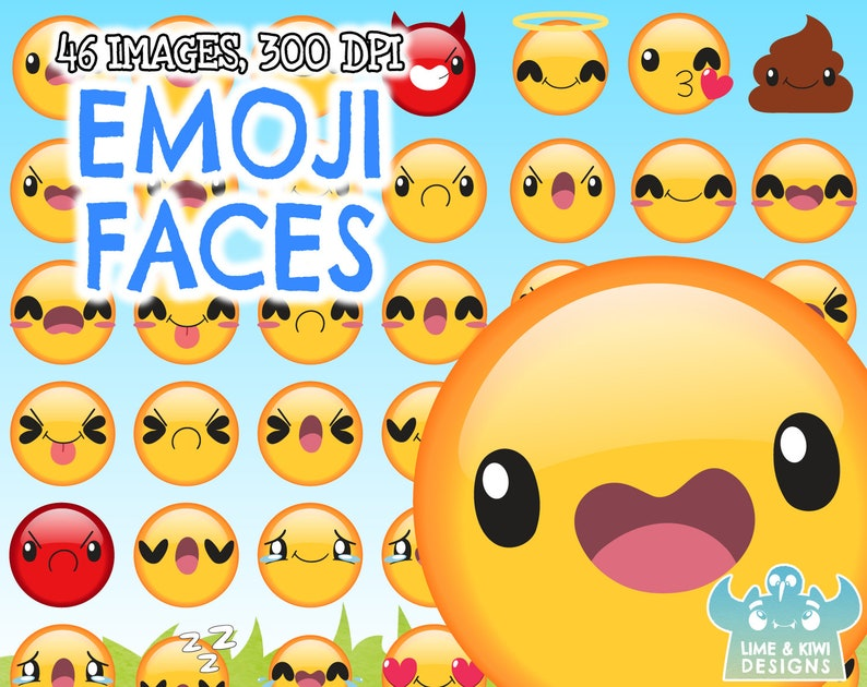 Emoji Faces Clipart, Instant Download Vector Art, Commercial Use Clip Art,  Phone Clipart, Smiley Faces, Mobile Phone, Tablet, Android