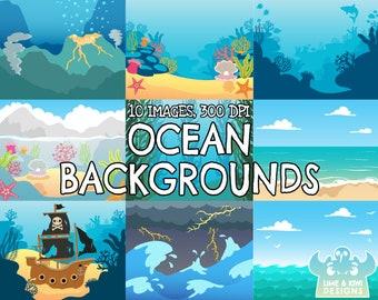 Ocean Backgrounds Clipart, Instant Download Vector Art, Commercial Use Clip Art, Beach, Kelp forest, Sea, Volcano, Storm Shipwreck Rock pool