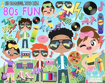 80s Fun Clipart, Instant Download, Lightning, 80s style, 80s fashion, Cassette tape, Vinyl record, Skateboard, Squiggles, Pizza, Rollerskate