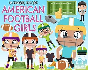 American Football - Girls clipart, Instant Download Vector Art, Gridiron, Football Field, Pitch, Quarterback, Foam hand, Uniform, Goalpost