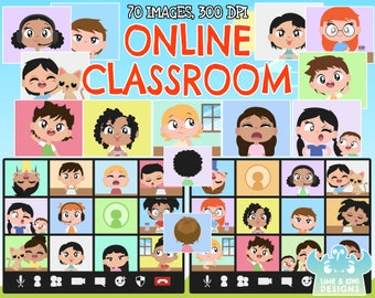 Online Classroom clipart, Instant Download Vector Art, Zoom calls, Online Learning, Video call, Video Conferencing, Distance Learning, Skype
