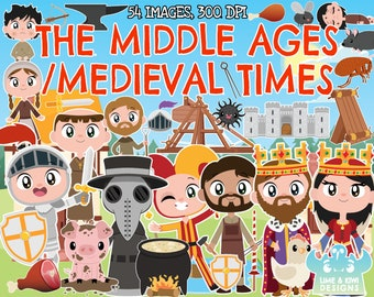 The Middle Ages/Medieval Clipart, Instant Download, Castle, King, Queen, Knight, Jester, Black Death, Plague, Church, Monk, Blacksmith, Rat
