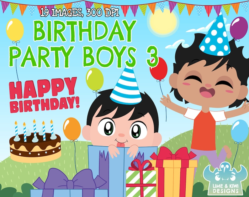 Birthday Party Boys 3 Clipart Instant Download Vector Art