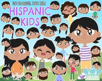 Hispanic Kids Clipart, Instant Download Vector Art, Commercial Use Clip Art, Boy, Girl, Child, Children, Kids of the World, Community, Asia