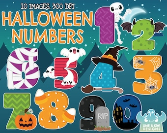Halloween Numbers Clipart, Instant Download Vector Art, Commercial Use Clip Art, Number clipart, Haunted House, Skeleton, Bat, Gravestone