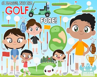 Golf clipart, Instant Download Vector Art, Sports, Golf court, Cute, Fore, Golf club, Golf ball, Flag, Golf pole, Golf cart, Golf buggy