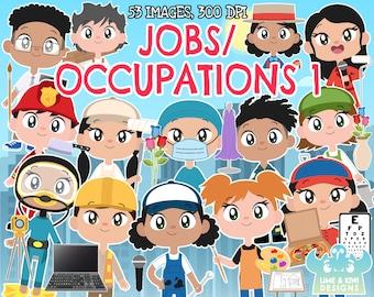 Jobs/Occupations 1 clipart, Instant Download Vector Art, Artist, Bus driver, Butcher, Carpenter, Sporting coach, Computer technician, Baker