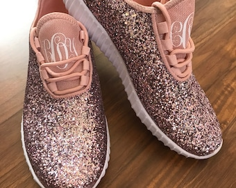 5e4a25f1c4ab Monogrammed Glitter Sneakers    Personalized Glitter Shoes    Glitter Kicks     Monogram Shoes