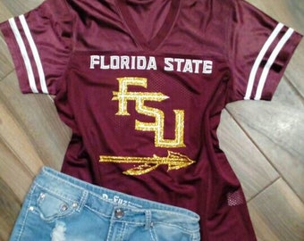 fa01a0e94a33a Glitter Florida State Seminole Inspired Jersey// FSU Shirt // Florida State  Tank // Seminoles// Noles//Noles Tank / Florida State University