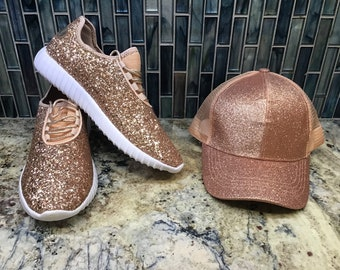 ad9eb5623161 Monogrammed Glitter Sneakers and Matching CC Glitter High Ponytail Hat     Personalized Glitter Shoes and hat set    Glitter Kicks    CC Pony